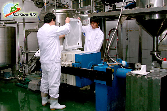 Процесс грубой очистки сырья для получения протеинового препарата - пептид коллагена ХуаШен. Фабрика по производству и переработке сырья ХуаШен.